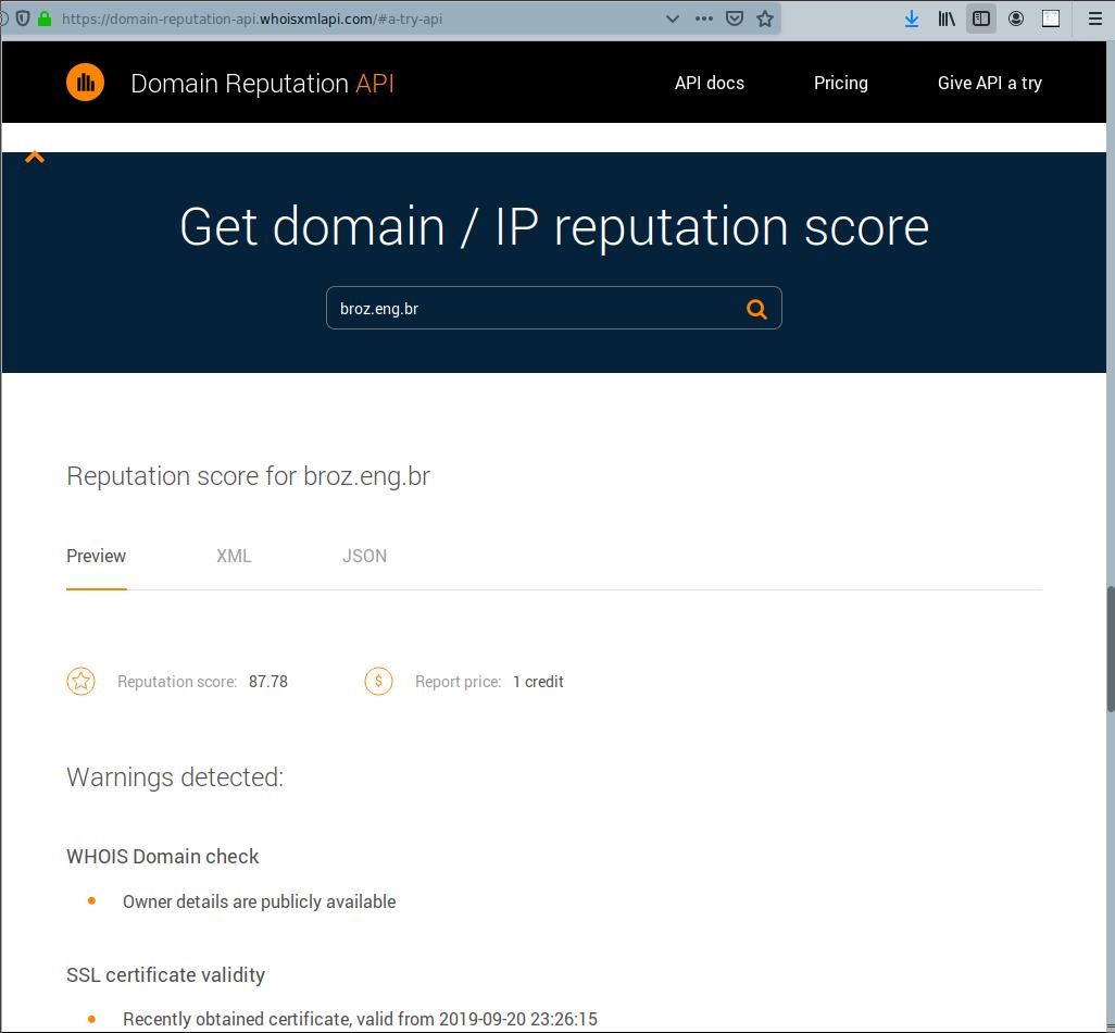 Domain Reputation API | WhoisXML API