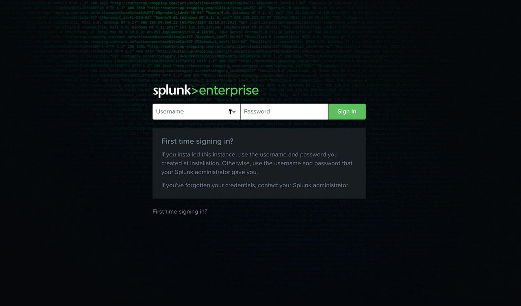 Log in to Splunk.