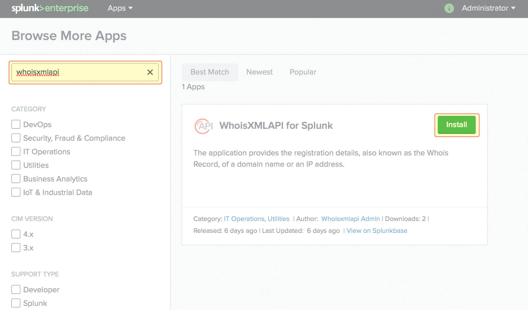 Download and install the application. This can be done from within Splunk.